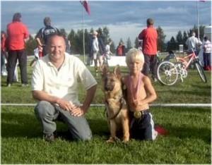 Marcus vant barn & hund klassen 5-8 år,med Xtra